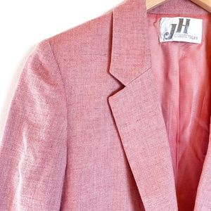 Vintage Jackets & Coats - Vintage 80s Pink Flax Blazer - Cropped